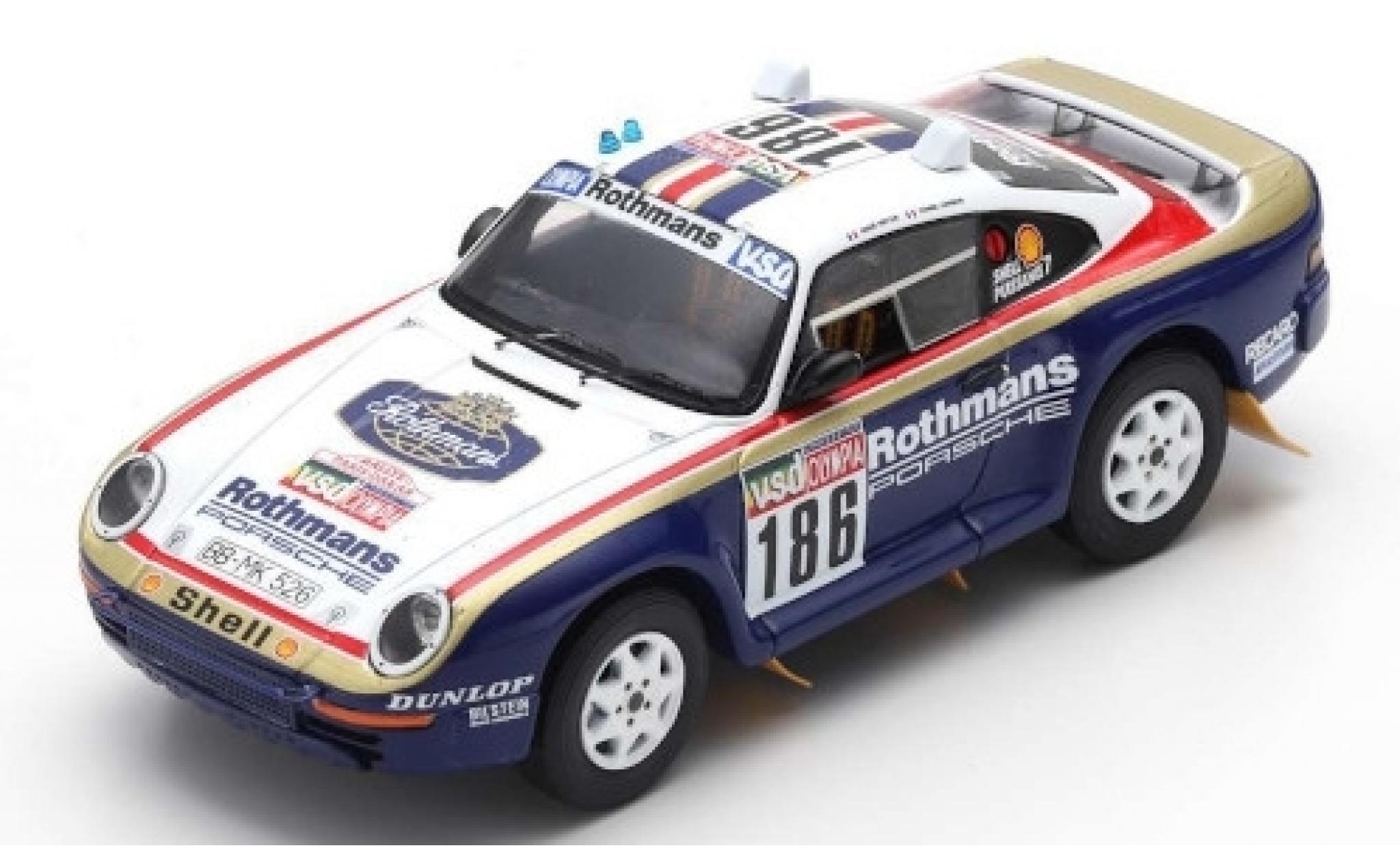 Porsche 959 1/43 Spark No.186 Rothmans Rallye Paris Dakar 1985 avec Decals R.Metge/D.Lemoine