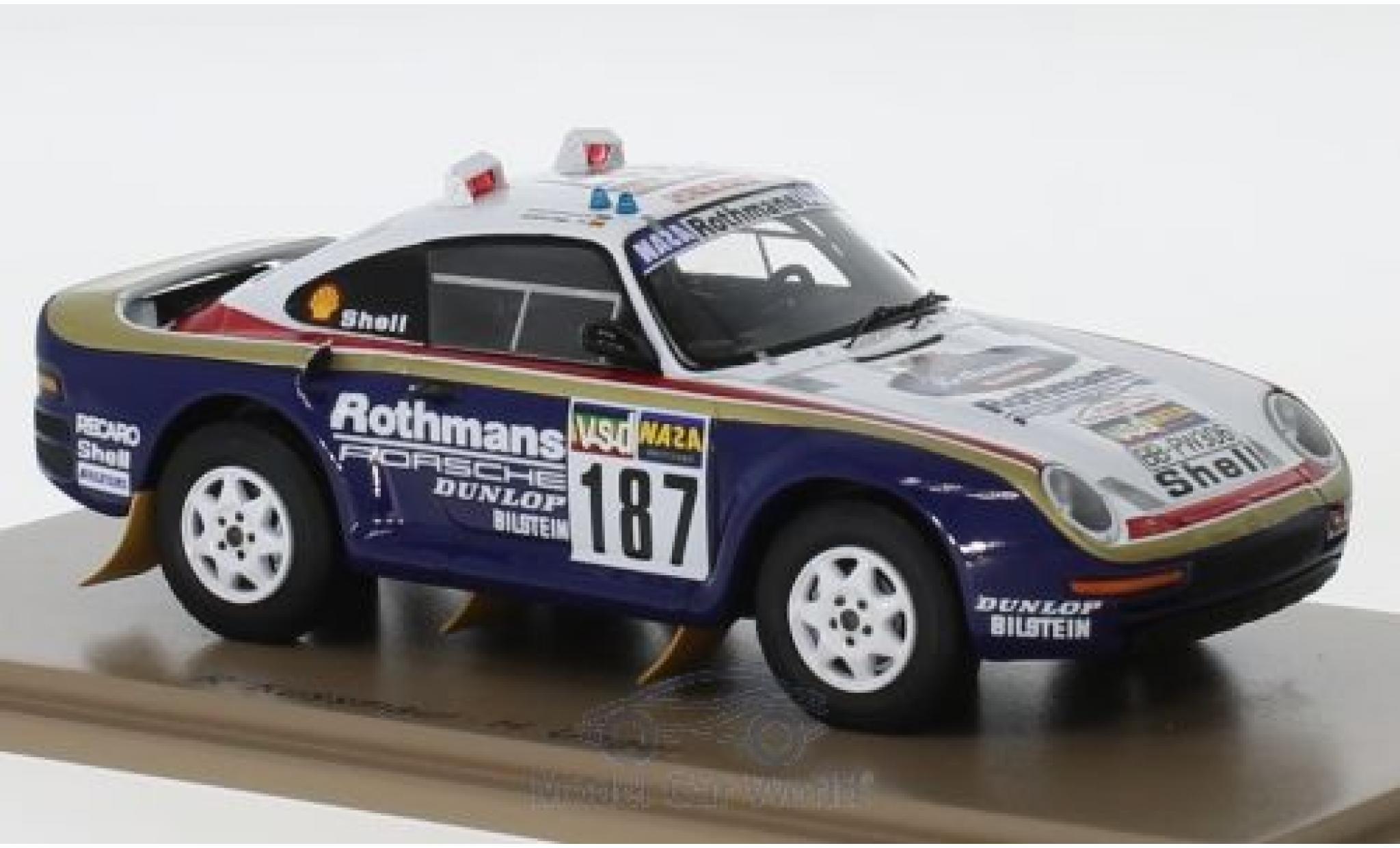 Porsche 959 1/43 Spark No.187 Rothmans Rallye Paris Dakar 1986 R.Kussmaul/H.Unger