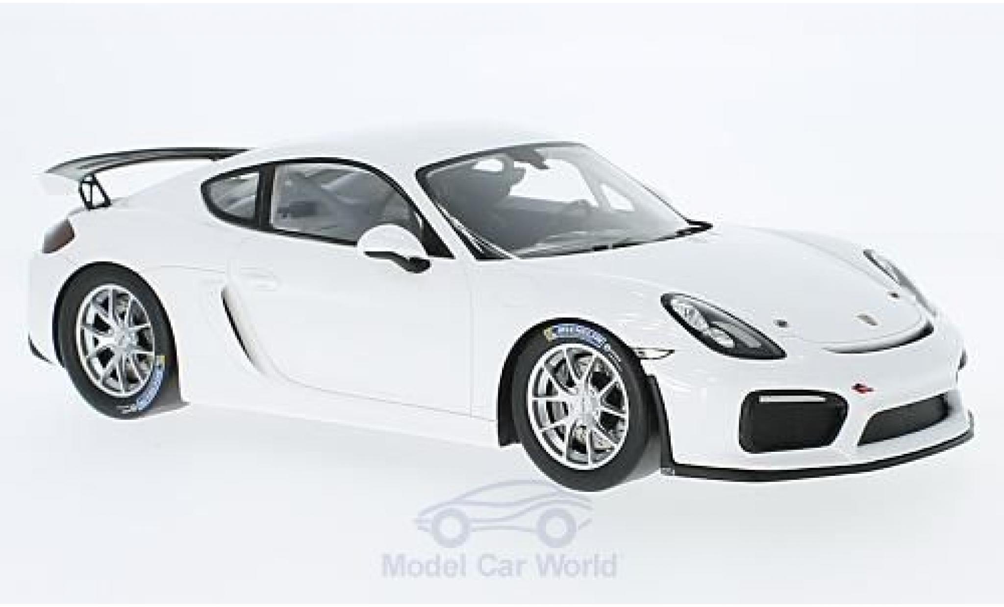 Porsche Cayman 1/18 Spark GT4 Clubsport bianco 2017