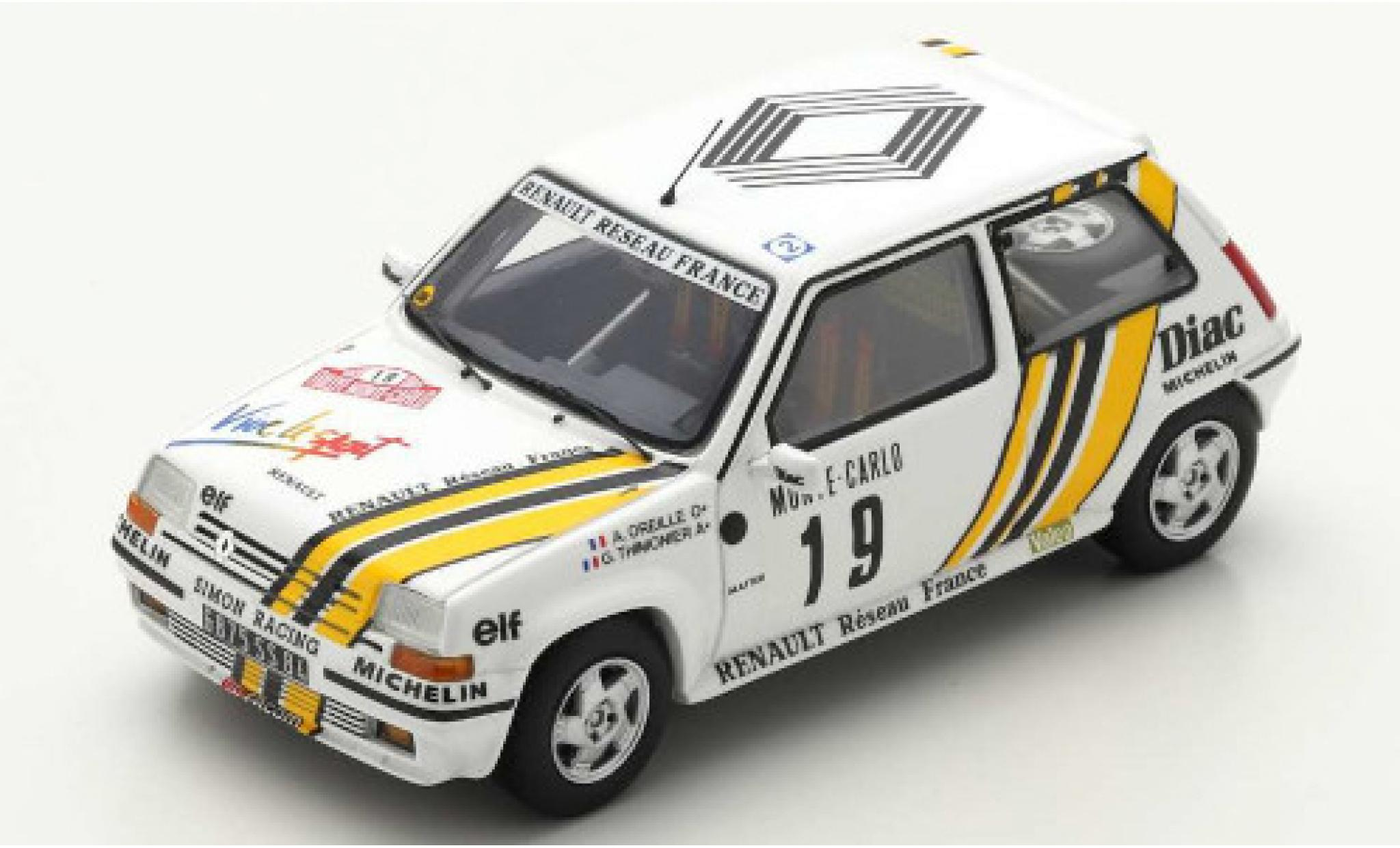 Renault 5 1/43 Spark GT Turbo No.19 Simon Racing Reseau France Rally Monte Carlo 1989 A.Oreille/G.Thimonier