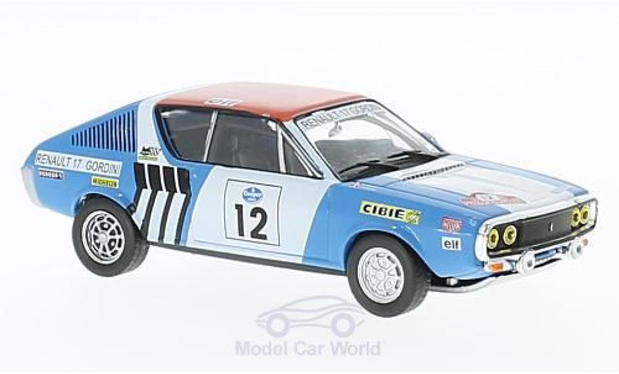 Renault 17 1/43 SpecialC 94 Gordini No.12 Rallye Press on Regardless 1974 J-L.Therier/C.Delferrier ohne Vitrine