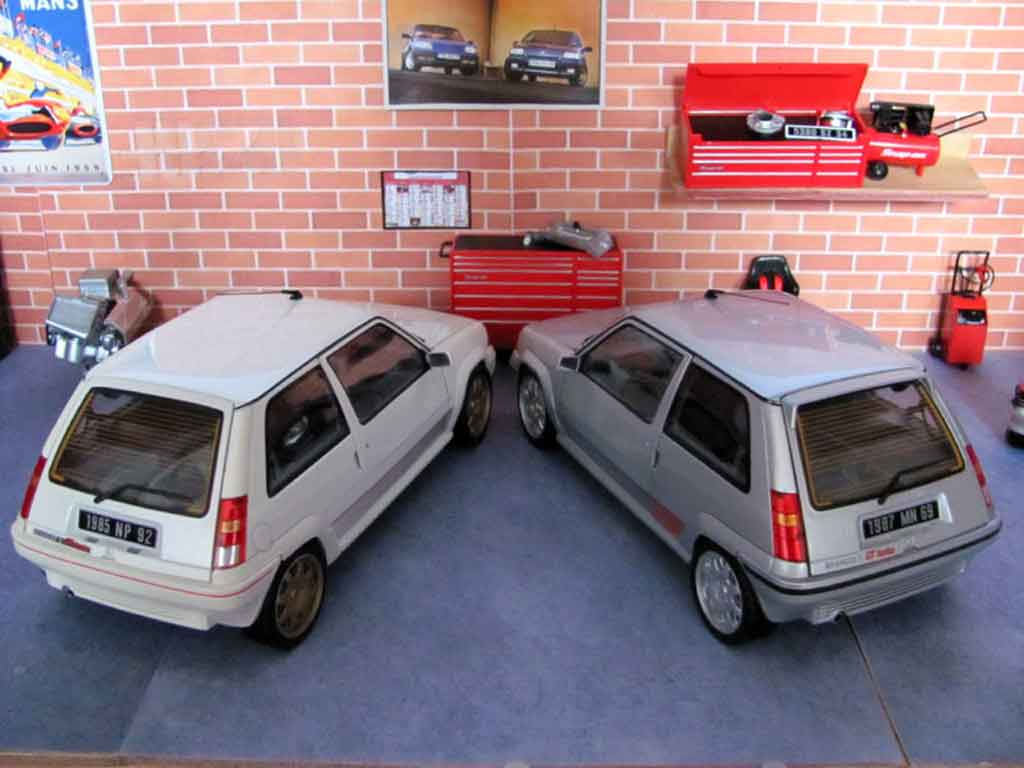 renault 5 gt turbo miniature phase 1 blanche jantes clio williams norev 1 18 voiture. Black Bedroom Furniture Sets. Home Design Ideas