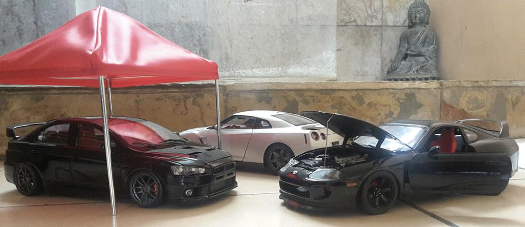 Voiture de collection Toyota Supra noire jantes 18 pouces et disques de frein tuning Kyosho. Toyota Supra noire jantes 18 pouces et disques de frein miniature 1/18