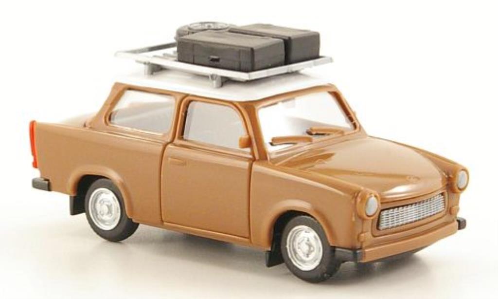 Trabant 601 1/87 Herpa marron/blanche mit Dachgepacktrager + Ladegut miniature