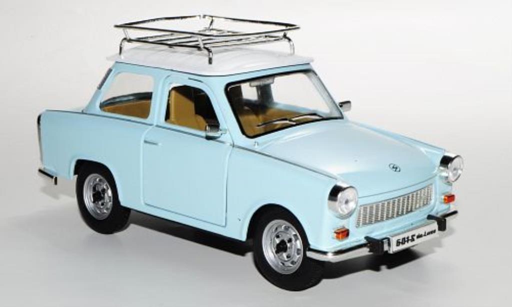 trabant 601 s de luxe blau weiss mit dachgepacktrager mcw modellauto 1 24 kaufen verkauf. Black Bedroom Furniture Sets. Home Design Ideas