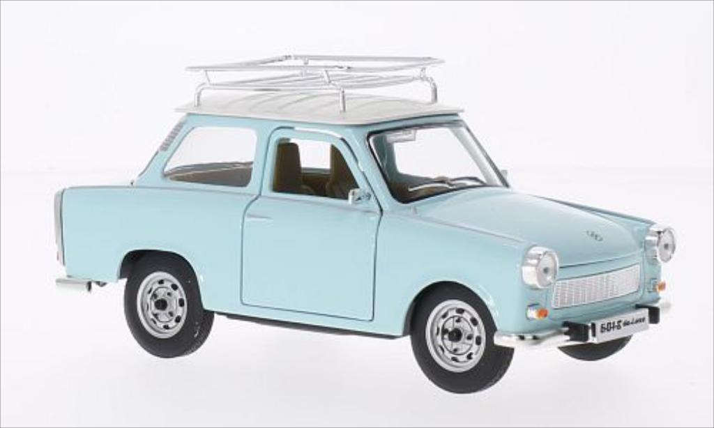 trabant 601 s deluxe mit dachgepacktrager blau weiss mcw modellauto 1 24 kaufen verkauf. Black Bedroom Furniture Sets. Home Design Ideas