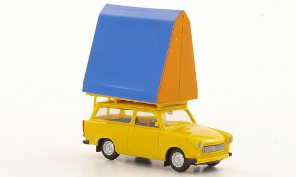 Trabant 601 1/87 Herpa Universal jaune mit Dachzelt miniature