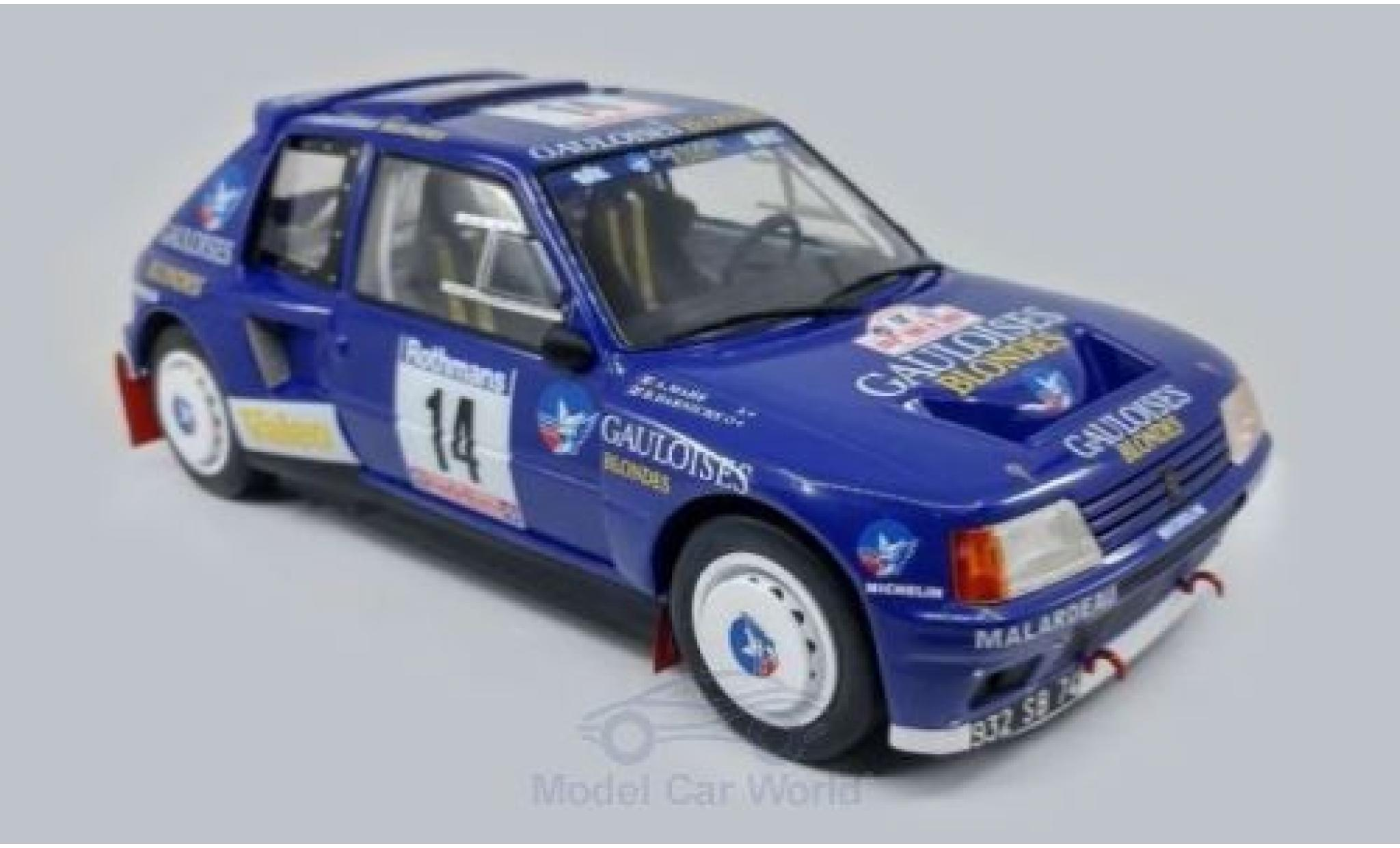 Peugeot 205 1/18 Triple 9 Collection T16 No.14 Gauloises Rallye WM Tour de Corse 1985 B.Darniche/A.Mahe