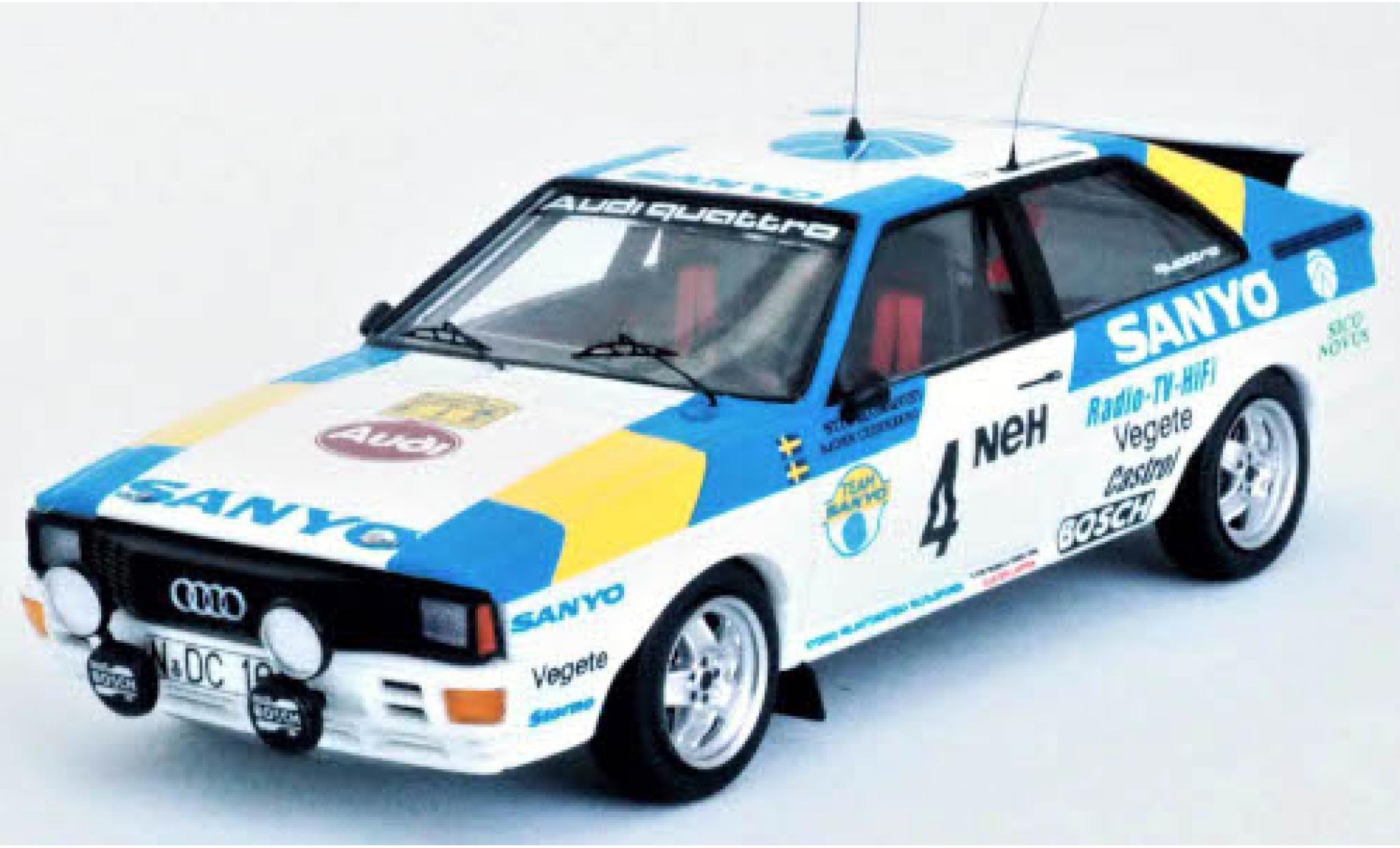 Audi Quattro 1/43 Trofeu quattro No.4 Sanyo Rallye WM Rallye Schweden 1982 S.Blomqvist/B.Cederberg