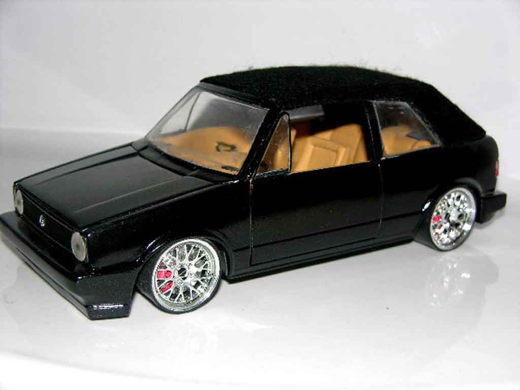 Volkswagen Golf 1 cabriolet 1/18 Sun Star black jantes bbs german look tuning diecast