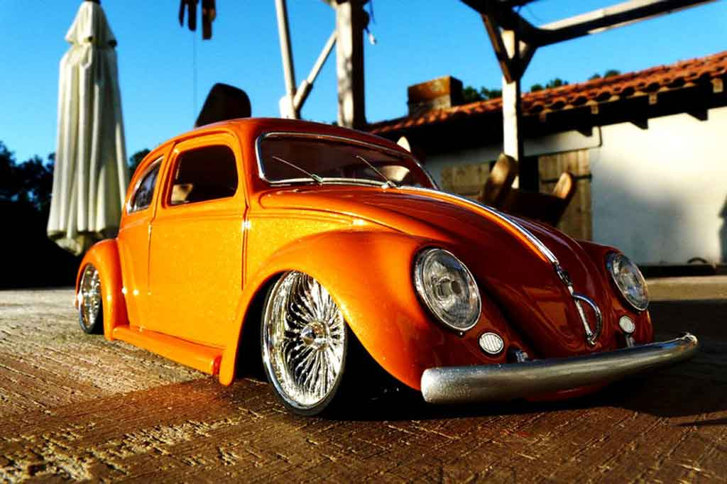Volkswagen Kafer 1/18 Burago 1955 cox low ride orange tuning miniature
