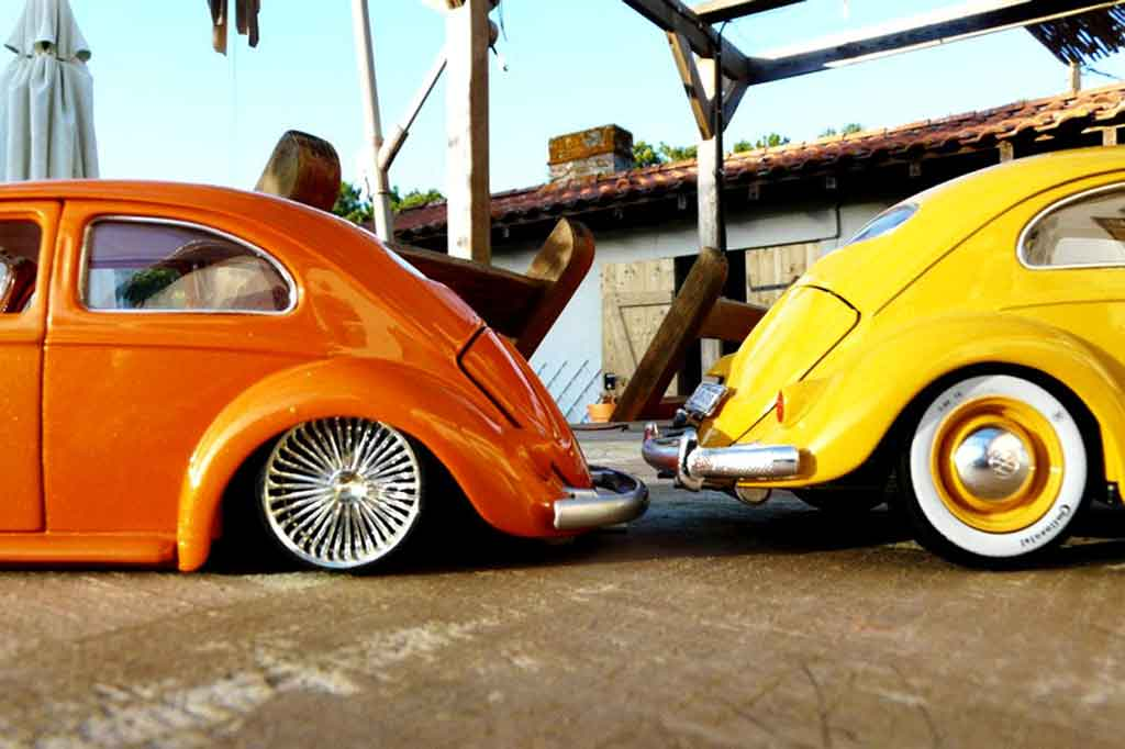 Volkswagen Kafer 1/18 Burago 1955 cox low ride naranja