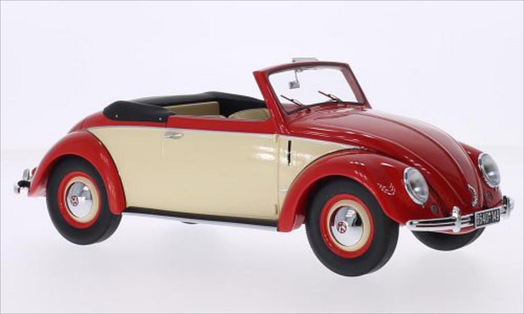 Miniature Volkswagen Kafer 1200 Cabriolet Hebmuller rouge/beige 1949 Minichamps. Volkswagen Kafer 1200 Cabriolet Hebmuller rouge/beige 1949 miniature 1/18