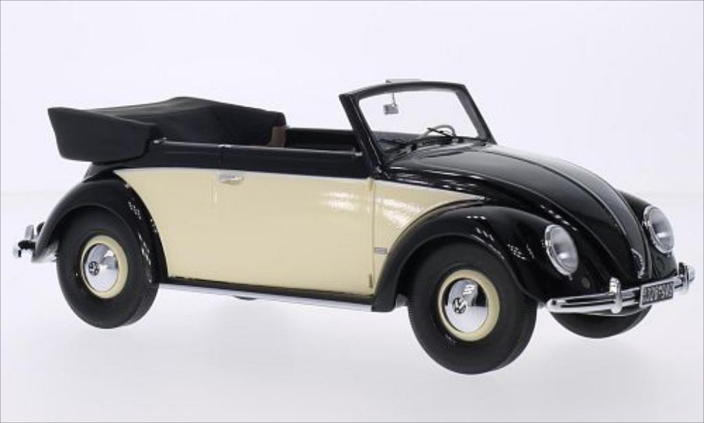 Miniature Volkswagen Kafer 1200 Cabriolet noire/beige 1949 Minichamps. Volkswagen Kafer 1200 Cabriolet noire/beige 1949 miniature 1/18