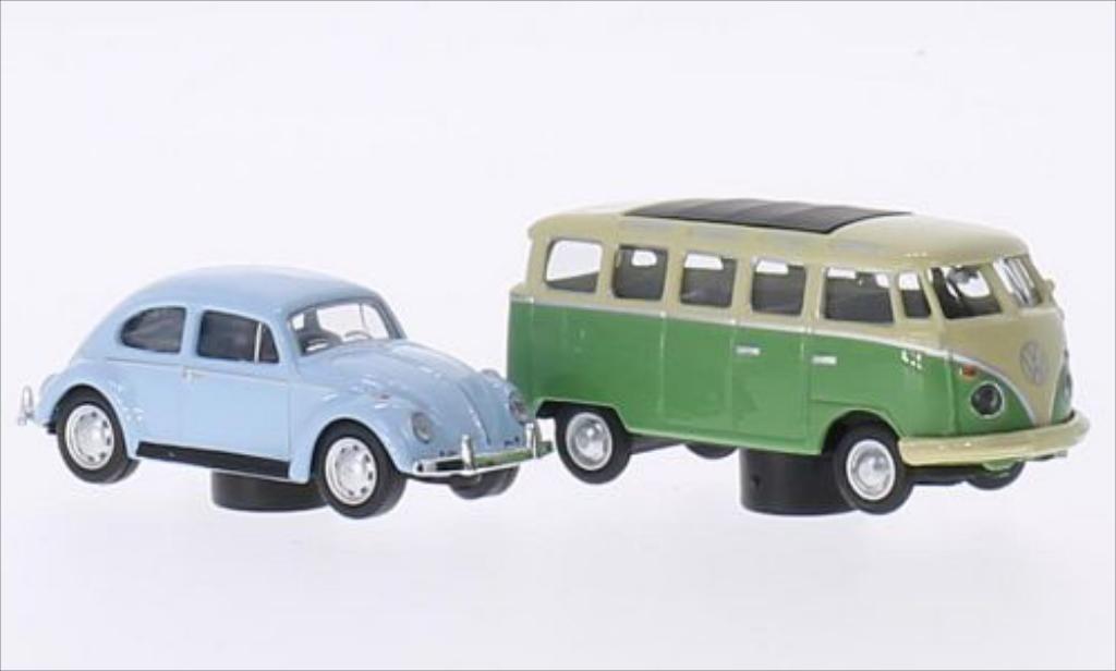 Volkswagen Kafer 1/87 Schuco bleu + T1 Samba verte/beige