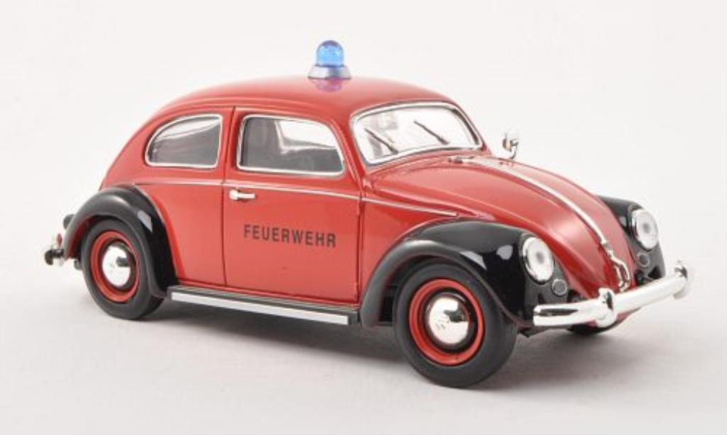 Volkswagen Kafer 1/32 Schuco Ovali Feuerwehr rouge/noire miniature