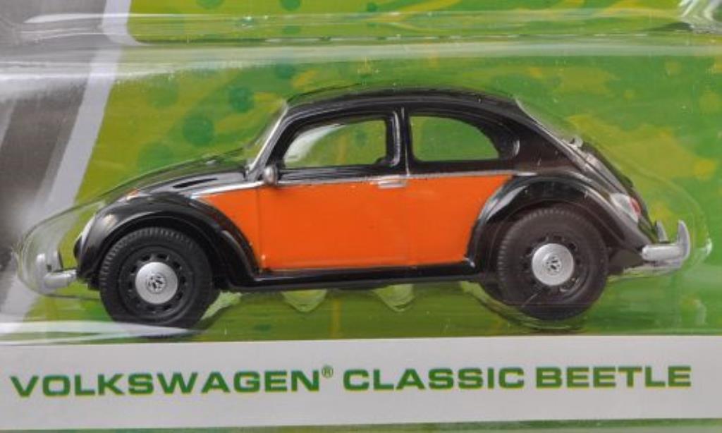 Volkswagen Kafer 1/64 Greenlight black/orange diecast model cars