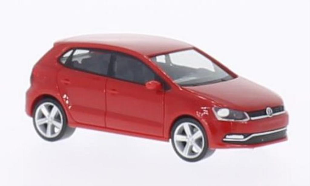 Volkswagen Polo 1/87 Herpa (6C) red 5-Turer 2014 diecast model cars