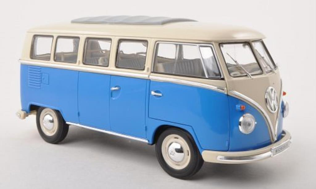 volkswagen t1 bus blau weiss 1962 welly modellauto 1 18 kaufen verkauf modellauto online. Black Bedroom Furniture Sets. Home Design Ideas