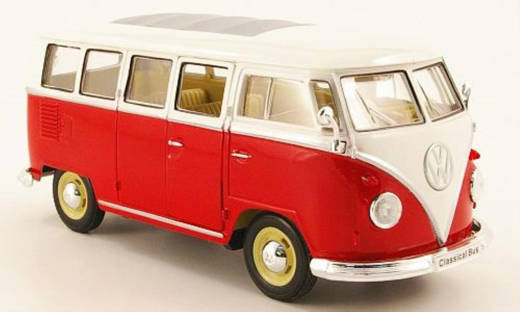 Volkswagen T1 1/24 Welly Bus red/white 1962 diecast model cars