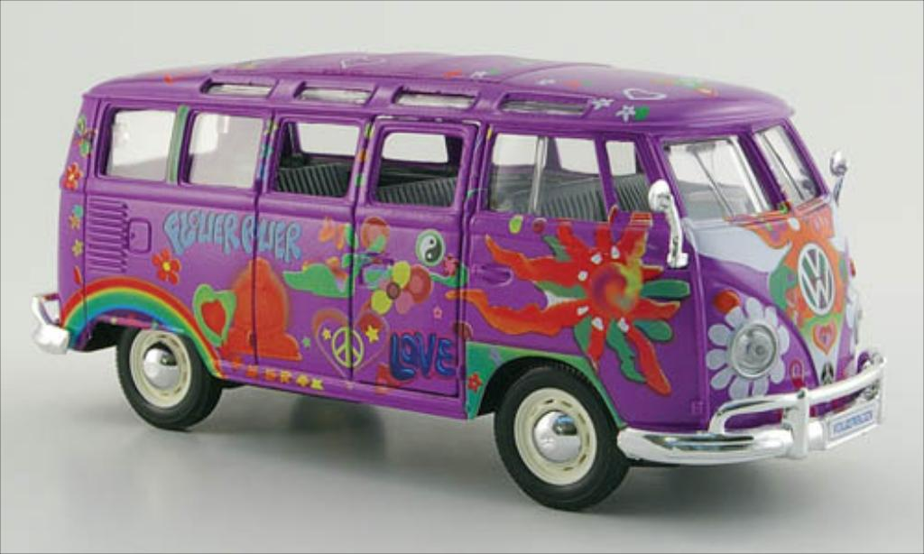 volkswagen t1 samba bus hippie lila dekor maisto modellauto 1 25 kaufen verkauf modellauto. Black Bedroom Furniture Sets. Home Design Ideas