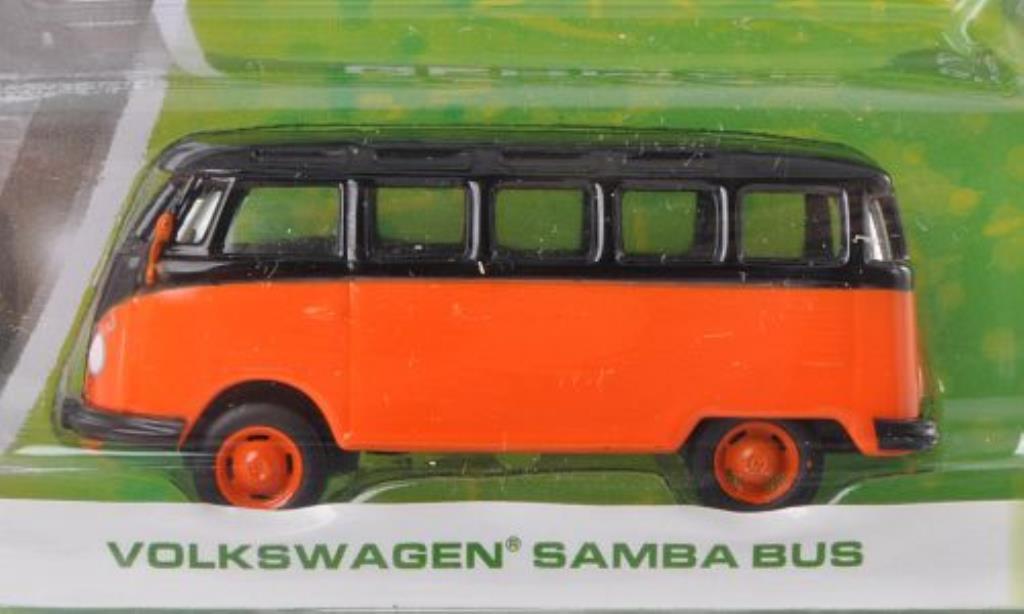 Volkswagen T1 1/64 Greenlight Samba orange/noire miniature