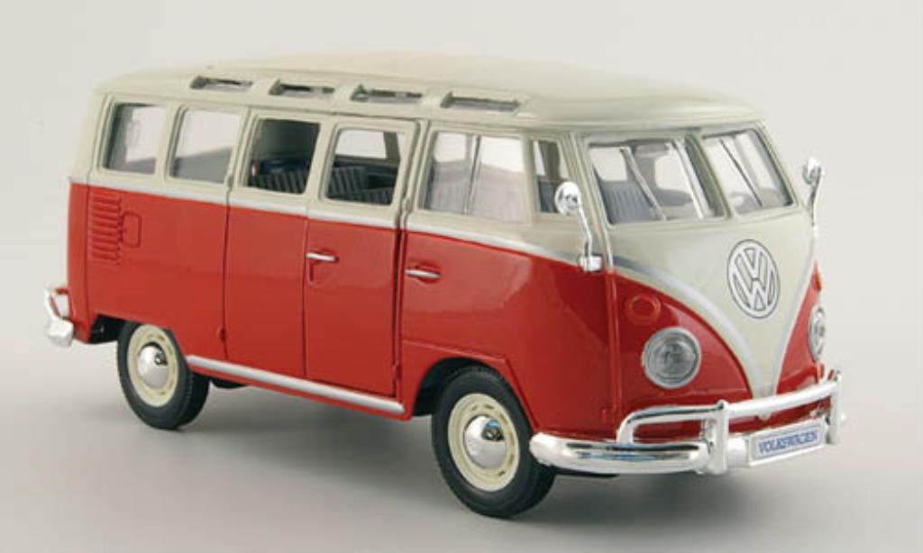 Volkswagen T1 1/25 Maisto Sambabus rouge/blanche miniature