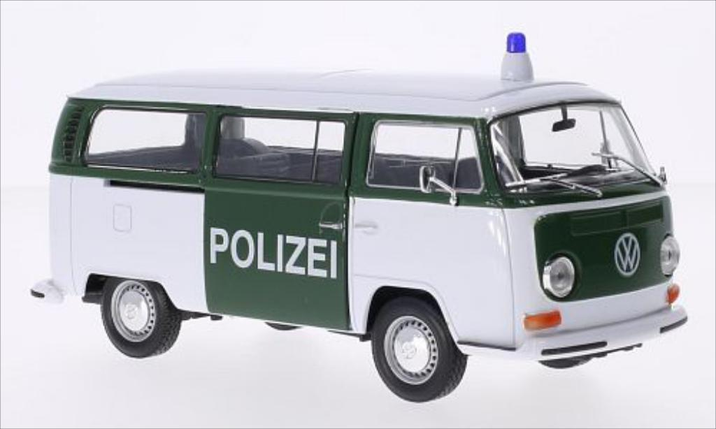 Volkswagen T2 1/24 Welly Bus blanche/verte Polizei 1972 miniature