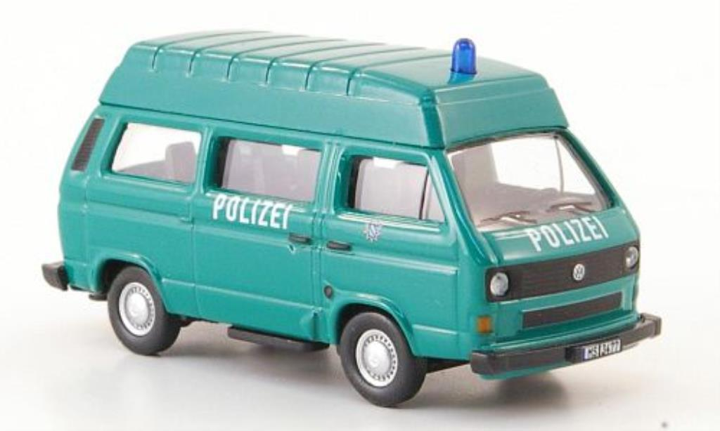 Volkswagen T3 1/87 Schuco Hochdachbus Polizei grun miniature