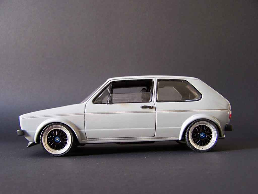 Volkswagen Golf 1 GTI 1/18 Solido grey jantes tsw 18 pouces pinstriping tuning diecast model cars