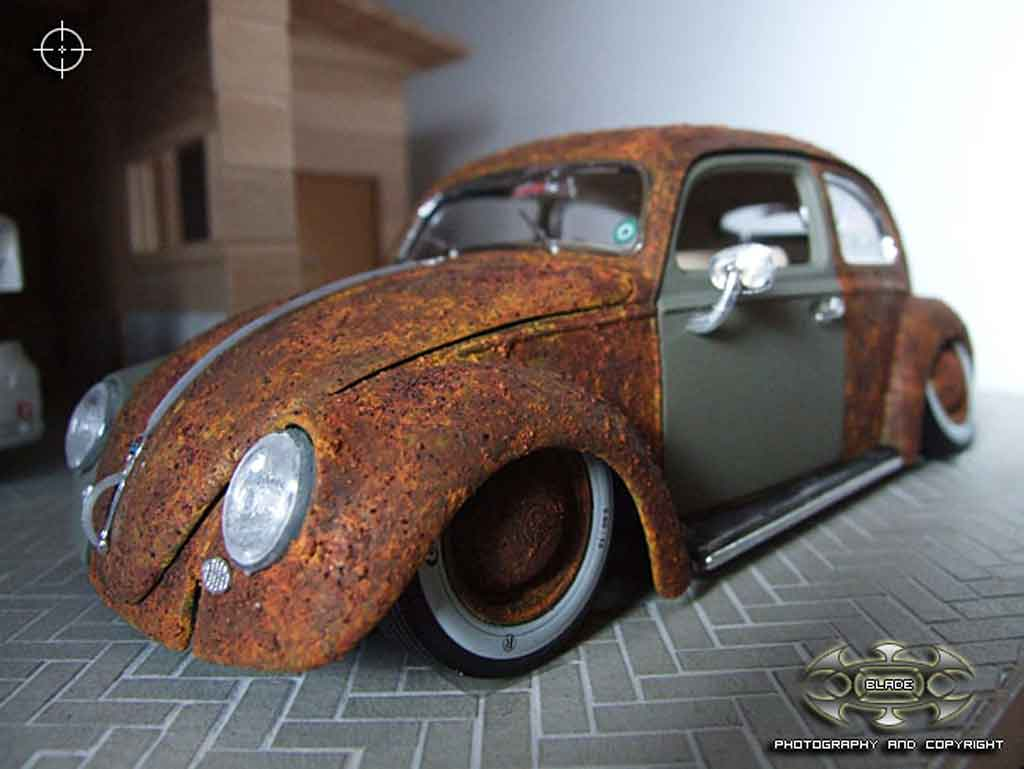 Volkswagen Kafer 1/18 Burago rat added rust tuning miniature