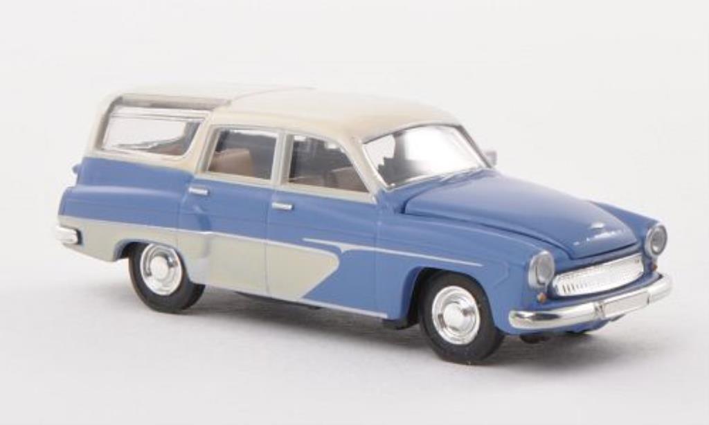 Wartburg 311 1/87 Brekina Camping bleu/beige miniature