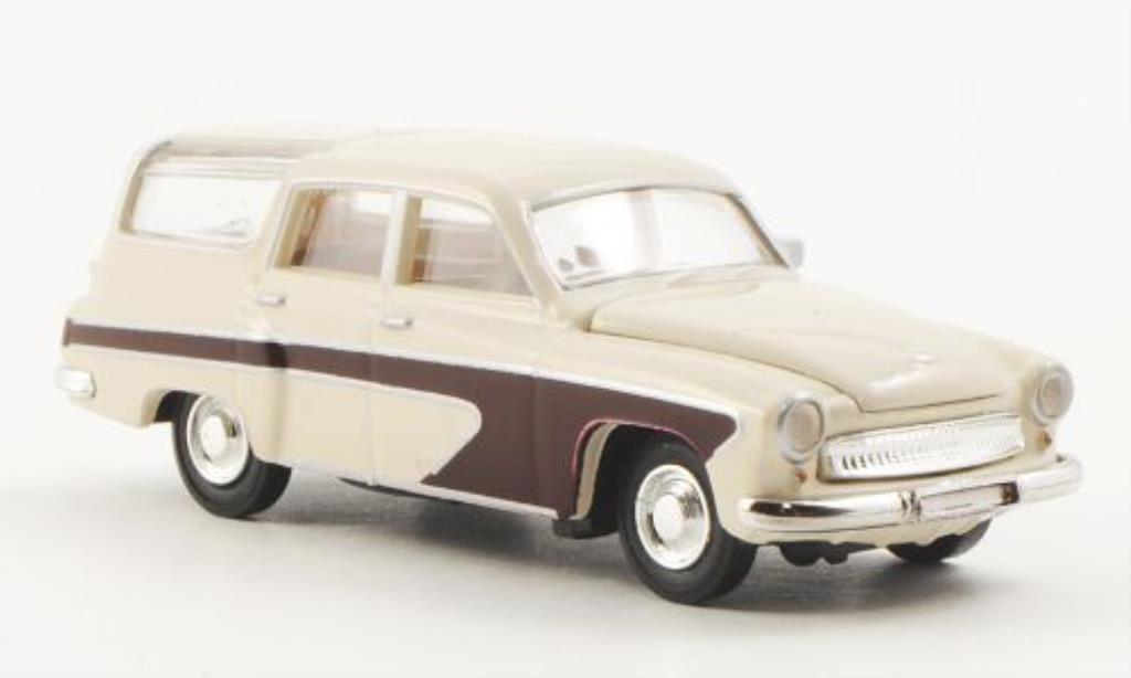 Wartburg 311 1/87 Brekina Camping blanche/rouge miniature
