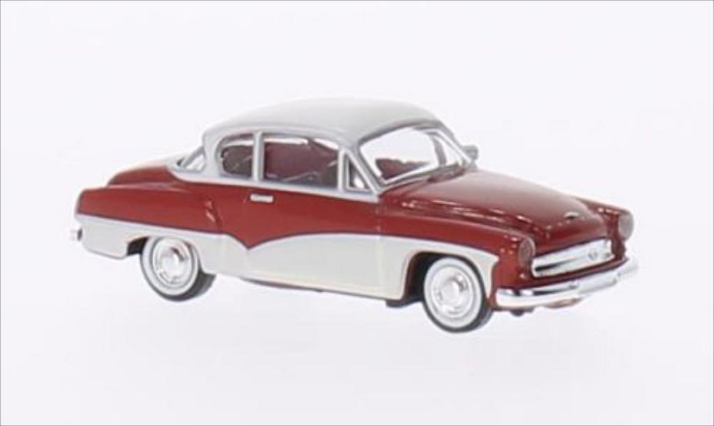 Wartburg 311 1/87 Brekina Coupe rouge/blanche miniature
