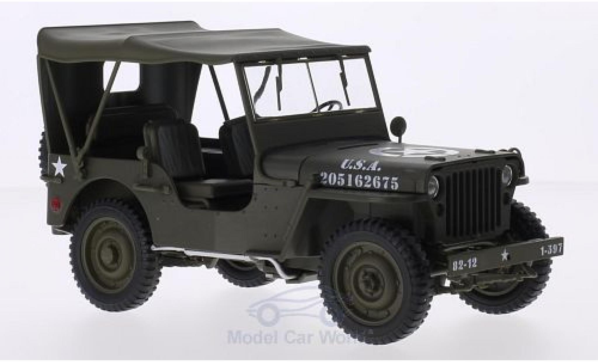 Jeep Willys 1/18 Welly matt-oliv U.S. Army geschlossen