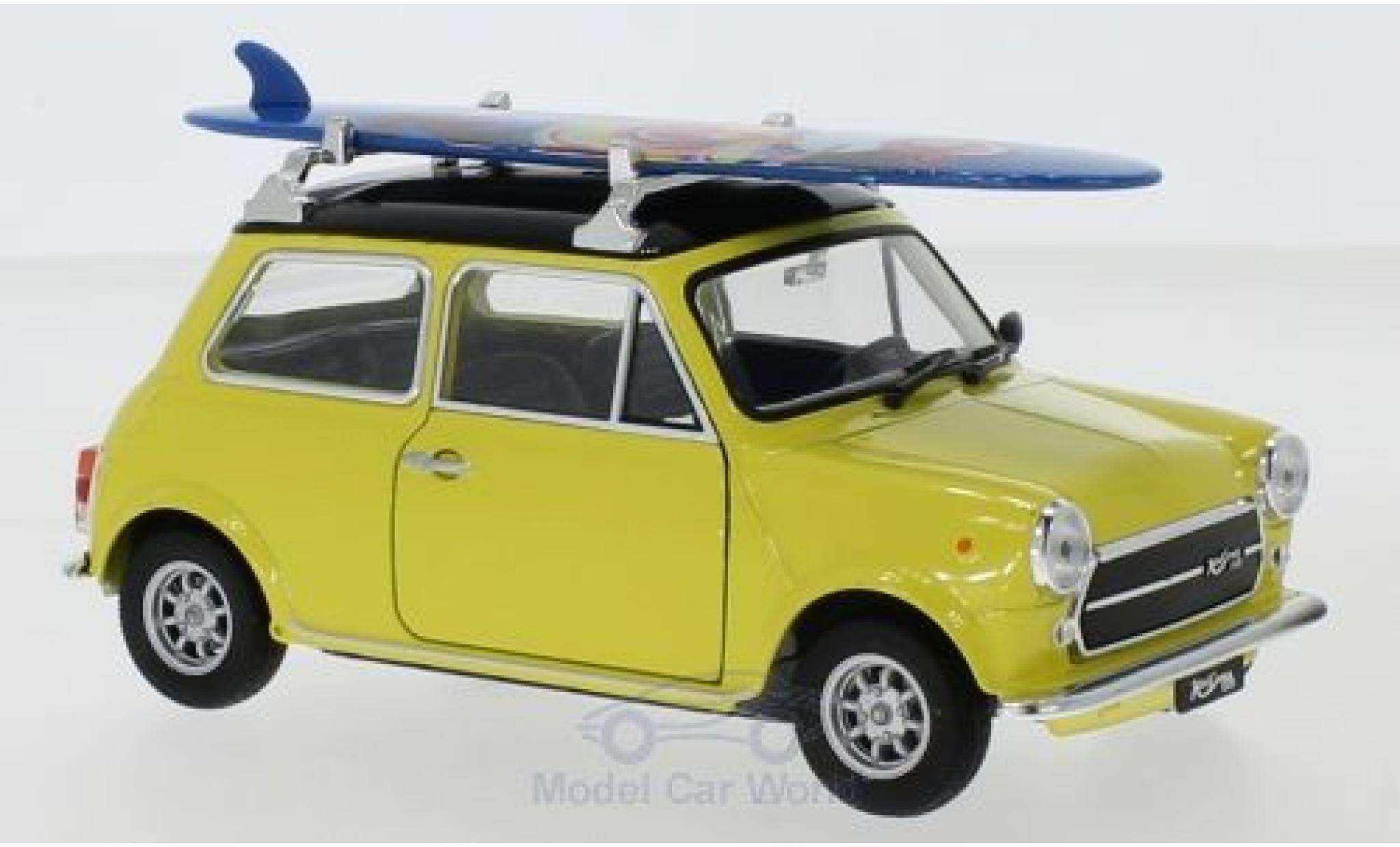 Mini Cooper 1/24 Welly 1300 jaune/noire 1974 Surfboard