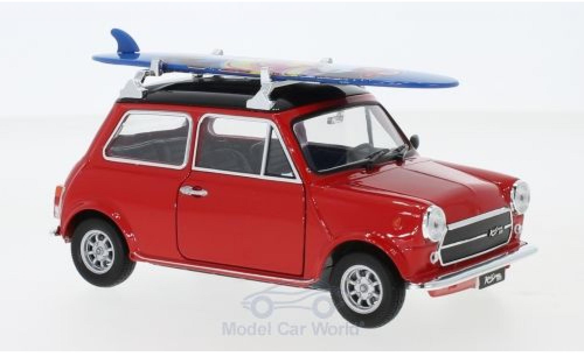 Mini Cooper 1/24 Welly 1300 rouge/noire 1974 mit Surfboard