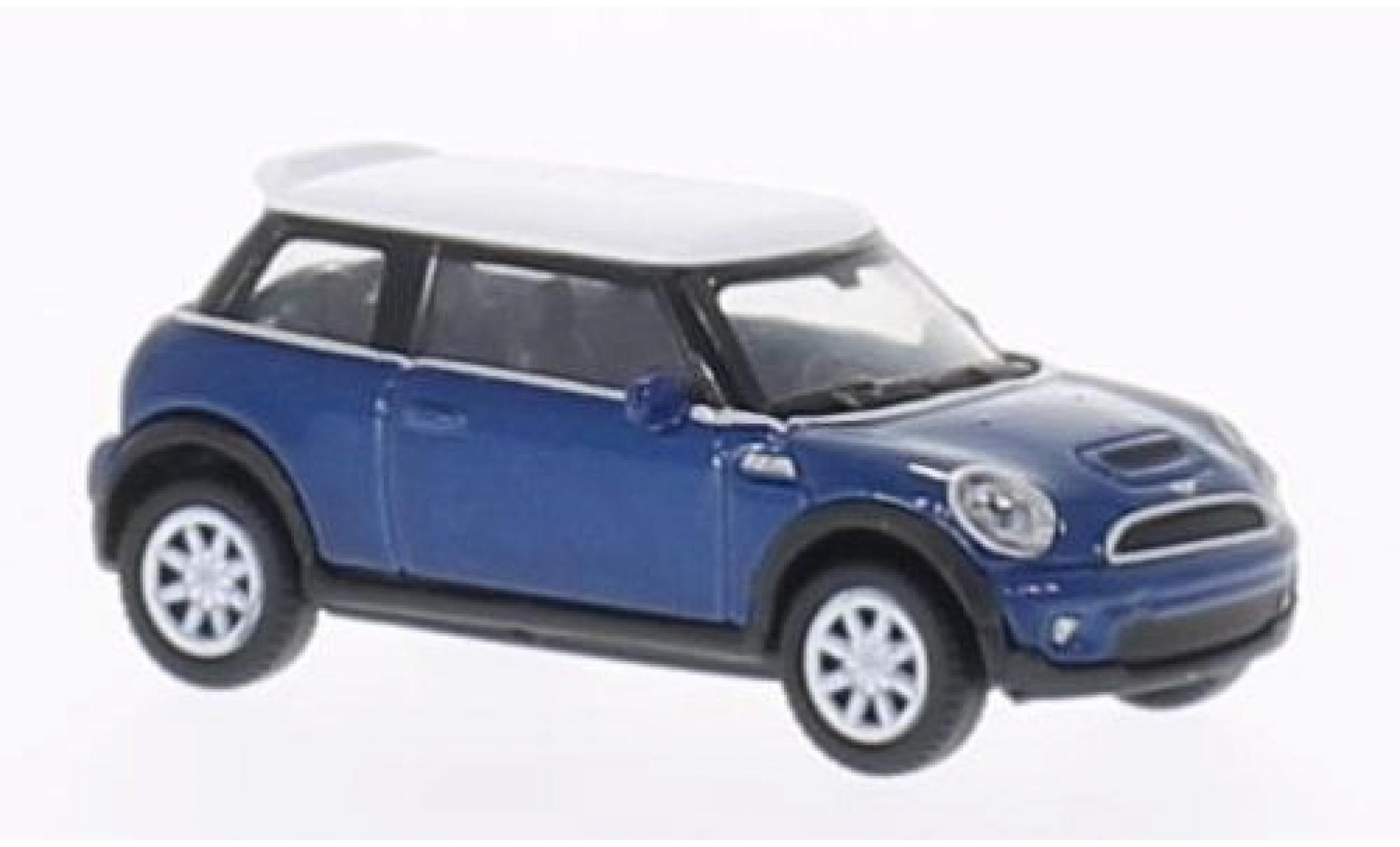 Mini Cooper 1/87 Welly S bleue/blanche