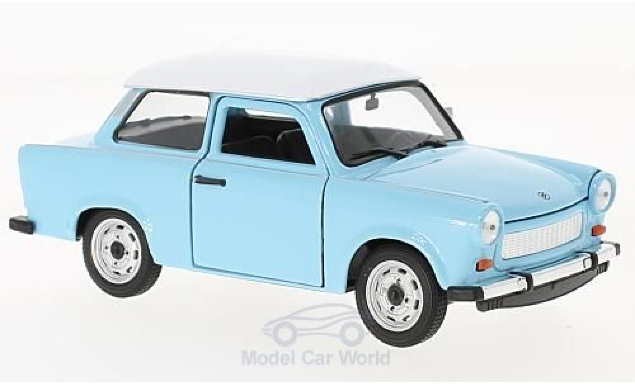 Trabant 601 1/24 Welly bleue/blanche