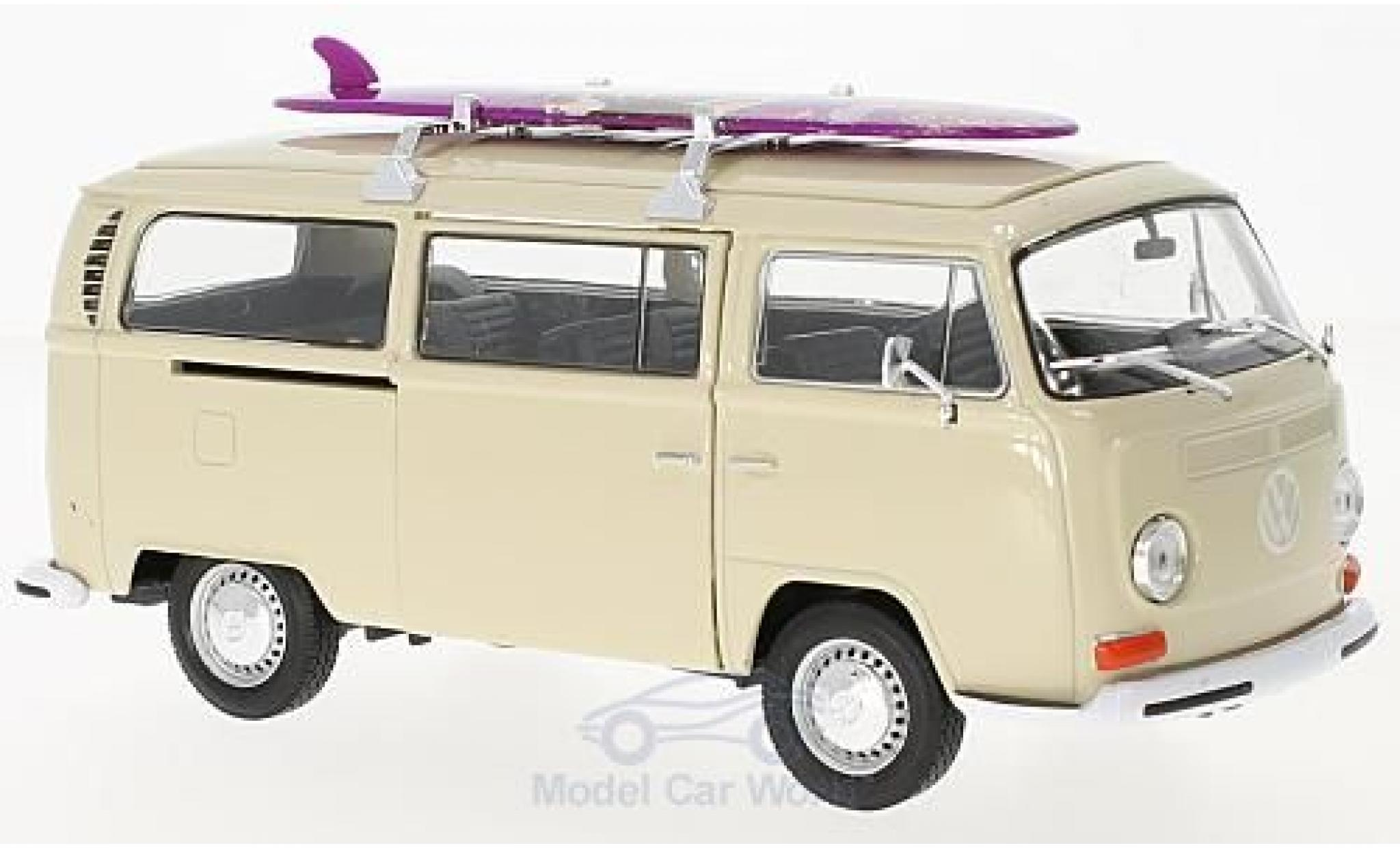 Volkswagen T2 B 1/24 Welly Bus beige 1972 mit Surfboard