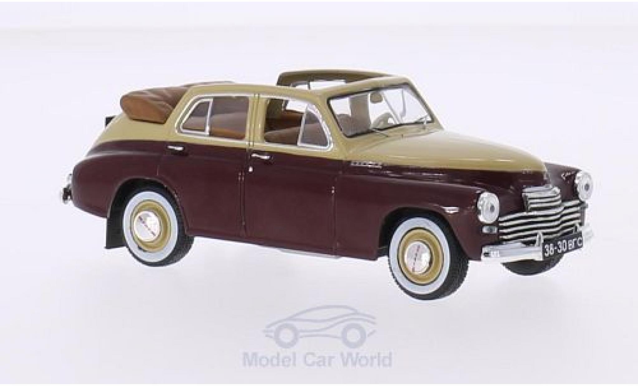 Gaz M20 1/43 WhiteBox GAZ Pobieda Cabriolet beige/dunkelrouge 1950