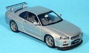 Nissan Skyline R34  GTR grise metallisee 1999 Autoart 1/43