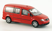 Volkswagen Caddy miniature maxi shuttle rouge 2007