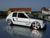 Peugeot 205 miniature Turbo 16 full white T16