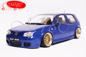 Volkswagen tuning Golf IV R32 blue jantes BBS 19 pouces bords larges