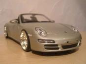Porsche 997 Cabriolet  S grise jantes bbs Norev 1/18