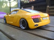 Audi tuning R8 4.2. FSI yellow wheels 19 inches blacks