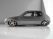 Peugeot 205 GTI  grise metallisee jantes racing hart 17 pouces Solido 1/18