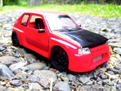 Peugeot 205 miniature GTI 1.9 Rouge Vallelunga kit carrosserie gtr