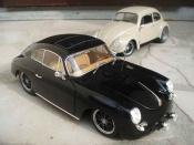 Miniature Porsche 356 1961  B noire old-school jantes brm